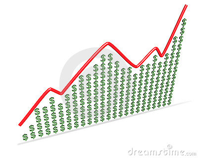 Dollar signs and financial curve