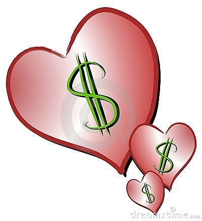 Dollar Signs On Hearts Clipart Stock Image - Image: 2257961