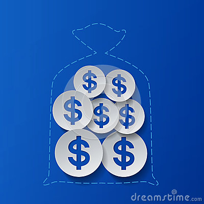 dollar signs and money bag blue background stock vector