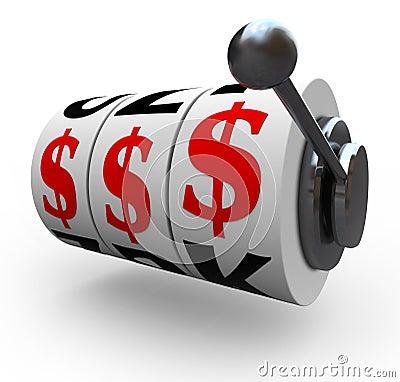 Dollar Signs on Slot Machine Wheels - Gambling
