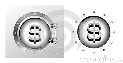 Dollar symbol and banking safe