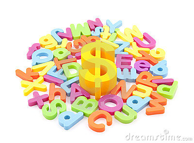 Dollar symbol and colorful letters