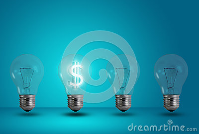 Dollar symbol glow among other light bulb