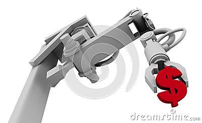 Dollar Symbol in Grip of Robot Arm