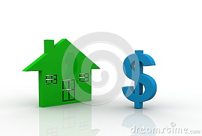 Dollar symbol with house sign