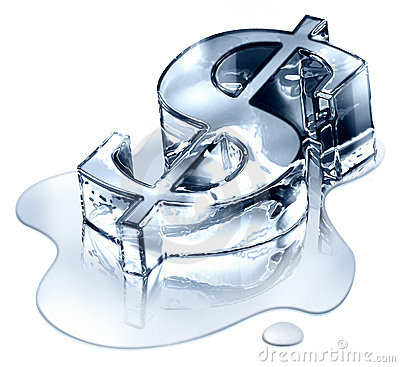 Dollar symbol in melting ice