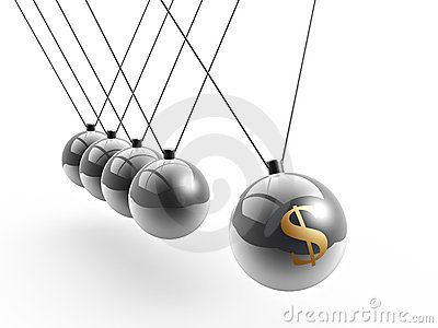 Dollar symbol on newton s cradle