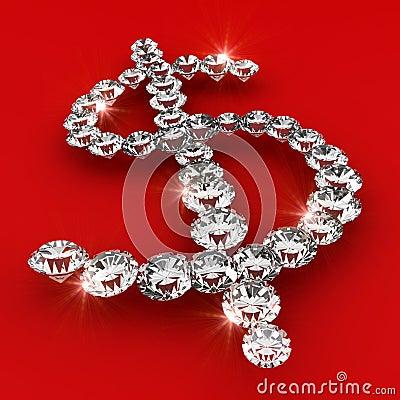 Dollar symbol shape diamond art illustration