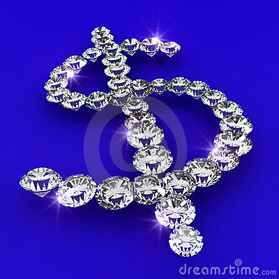 Dollar symbol shape diamond art illustration
