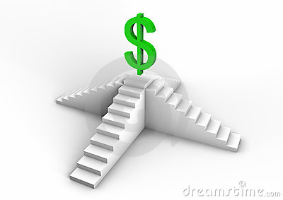 Dollar symbol on a staircase