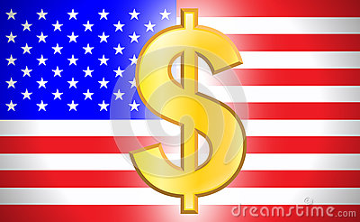Dollar symbol with USA flag
