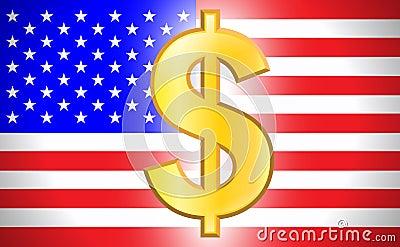 Dollar symbol with USA flag