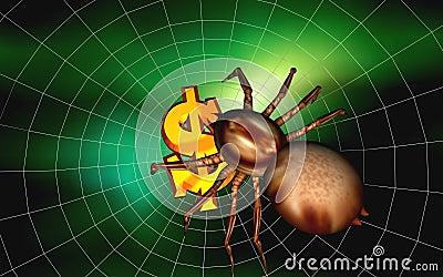 Dollar und Spinne