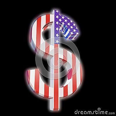 Dollar with US Flag
