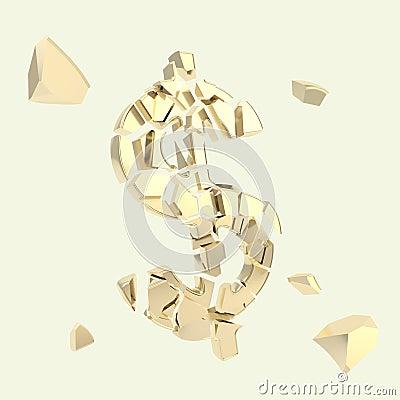 Dollar usd currency symbol broken into pieces