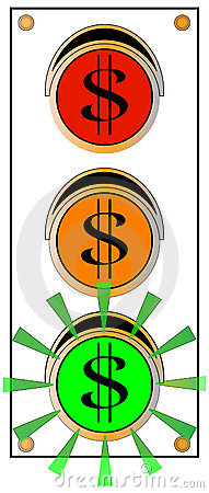 Dollar-Zeichen-Verkehrs-grüne Leuchte