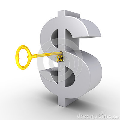 Dollaro-tasto nel buco della serratura del simbolo del dollaro