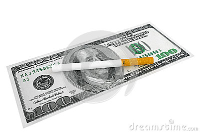 Dollars banknotes with Cigarette
