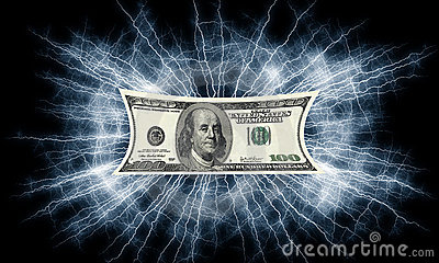 Dollars bill electrified money
