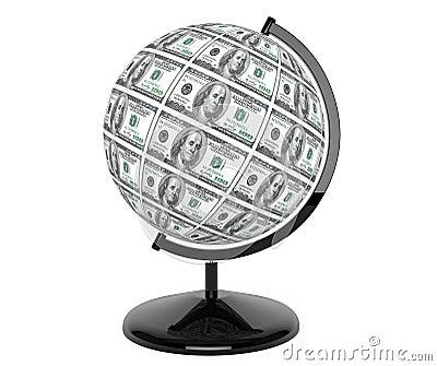 Dollars Bills as globe