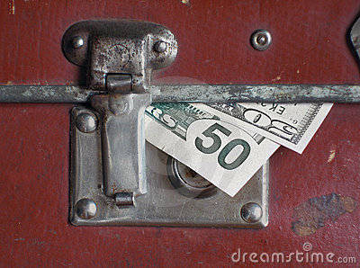 Dollars bills within old case