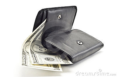 DOLLARS IN A BLACK WOMEN S PURSE