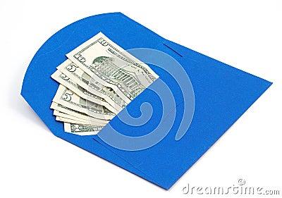 Dollars in blue envelope