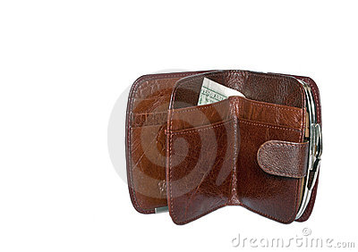 Dollars in a brown women s purse