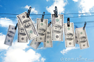 Dollars on a clothesline