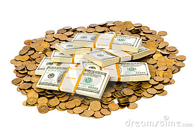 Dollars and coins isolated