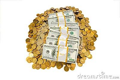 Dollars et pièces de monnaie