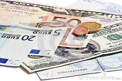 Dollars euro and czech money
