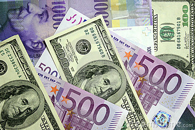 Dollars, euro, Zwitserse frank
