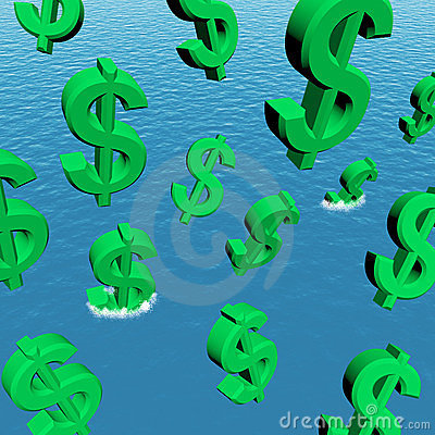 Dollars Falling In The Ocean