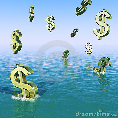 Dollars Falling In The Sea