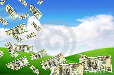 Dollars falling from the sky (Select Focus )