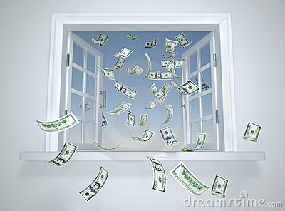 Dollars falling through the window