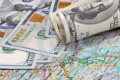 Dollars on a geographical map of Ukraine