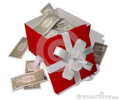 Dollars in giftbox