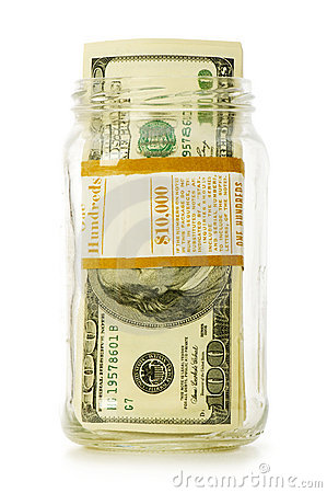 Dollars in glass jar isolated