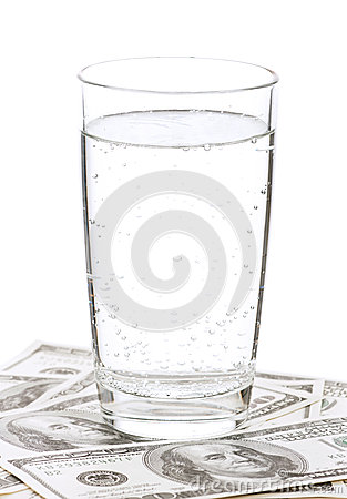 Dollars and glass of water