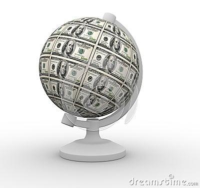 Dollars globe
