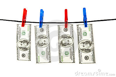 Dollars hanging on a rope