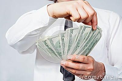 Dollars in man s hand