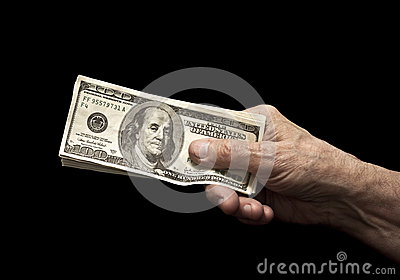 Dollars in old hand