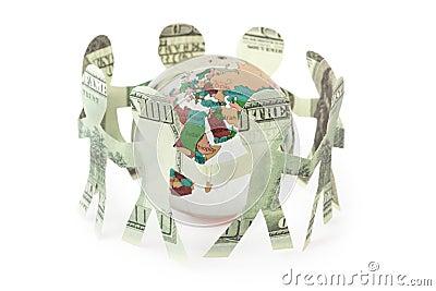 Dollars people cutouts dance in around globe