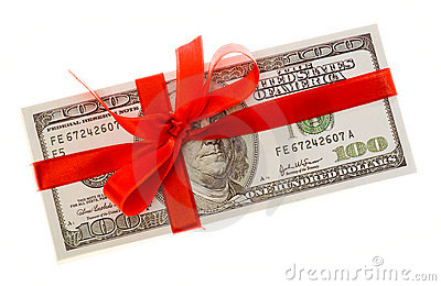 Dollars with red bow