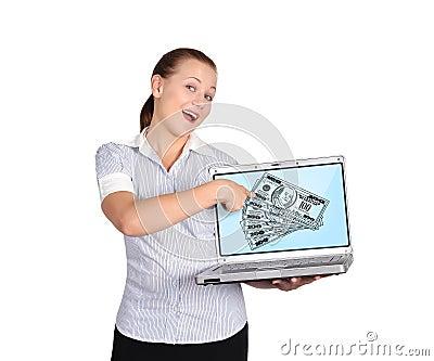 Dollars on screen laptop