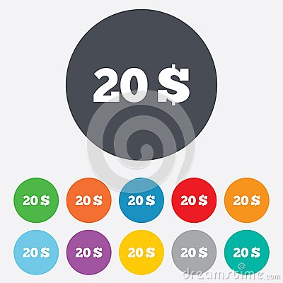 20 Dollars sign icon. USD currency symbol.