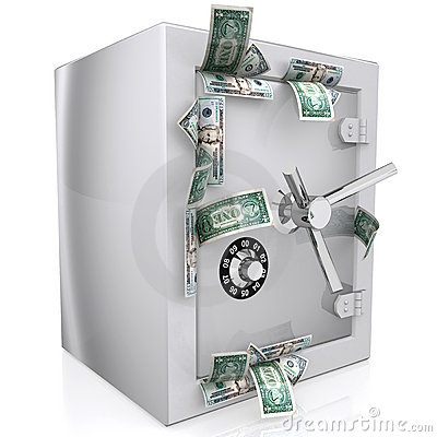 Dollars sticking out of safe